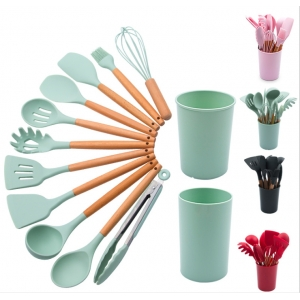 Eco-friendly hot selling 12pcs silicon kitchen utensil set with bucket cooking utensil with wood handle